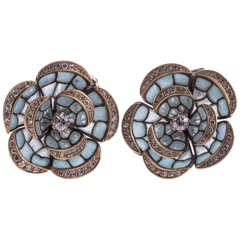 Plique-à-Jour Enamel and Diamond Earrings For Sale