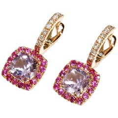 A & Furst Drop Earrings Rose de France Pink Sapphire 18 Karat Rose Gold Dynamite