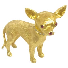 Round Diamond and Cabochon Ruby Yellow Gold Chihuahua Brooch