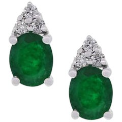 0.73 Carat Emerald Stud Earrings