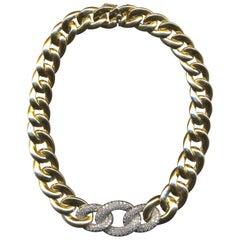 """18 Karat Diamond """"Cuban Link"""" Tapered Necklace"""