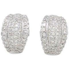 14 Karat White Gold Diamond Cluster Stud Earrings 1.50 Carat
