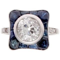 1.35 Carat Old European Cut Diamond Sapphire Platinum Ring
