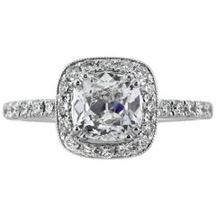 Mark Broumand 1.92 Carat Old Mine Cut Diamond Engagement Ring