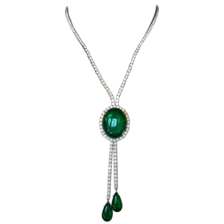 Emerald Cabochon and Diamond 18 Karat Gold Necklace