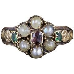 Antique Georgian Ring 18 Carat Gold Garnet Emerald Pearl, circa 1800
