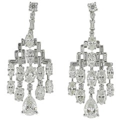 GIA Certified 6,51 Carat Marquise/Round/Pear Diamonds Chandelier Earrings