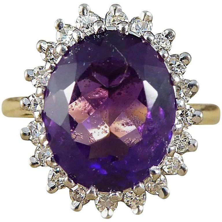 Vintage Amethyst Diamond 18 Carat Gold Cluster Ring