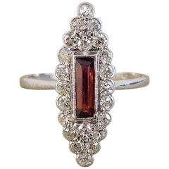 Art Deco Garnet Diamond Marquise Ring in Platinum