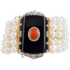 Mediterranean Red Coral Onyx Pearl 1.60 Carat Diamond Gold Bracelet