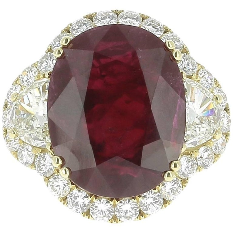Oval Natural Ruby Mozambique Engagement Ring 12.52 Carat GRS Certified