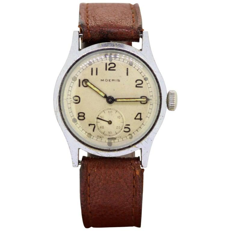 "Moeris, Men's Military ""WWII"" Manual Wristwatch, circa 1940s"