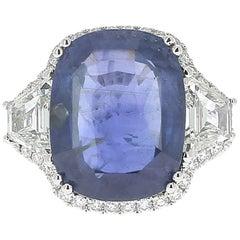 GRS 19.95 Carat Natural Blue Cushion No Heated Sapphire Sri Lanka Ring
