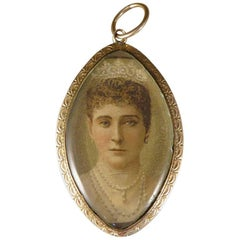Early Victorian Double Portrait Miniature 9 Carat Gold Pendant