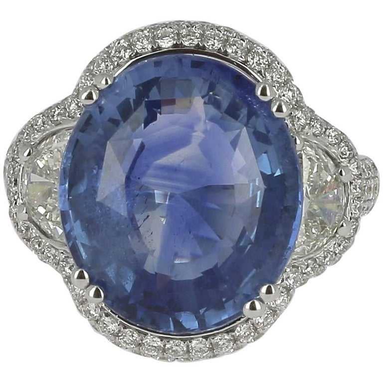 GRS Certified 12.47 Carat Natural Sapphire and Half Moon Diamond Engagement Ring