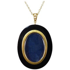 Antique Victorian Onyx and Pearl Gold Pendant