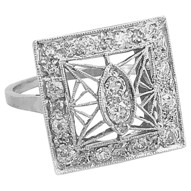 .60 Carat Diamond Antique Engagement Fashion Ring 18 Karat White Gold