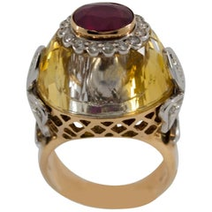 1.20 Carat Ruby Diamond Citrine Yellow Gold Cocktail Ring