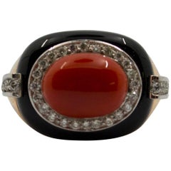 Onyx Red Coral Diamond Yellow Gold Cocktail Ring