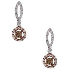 0.48 Carat Champange Diamond Earrings