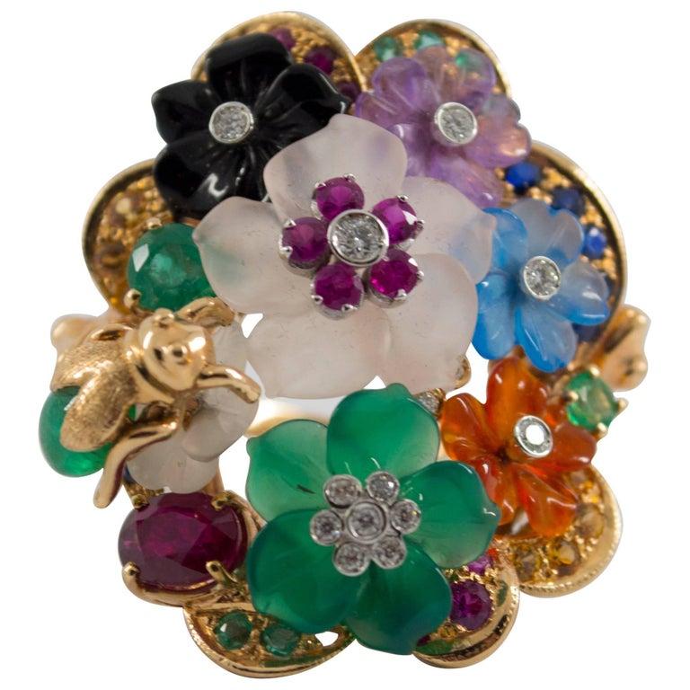 4.20 Carat Emerald Ruby Sapphire Diamond Cocktail Flowers Ring