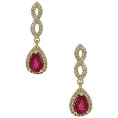 1.00 Carat Ruby Dangle Earrings