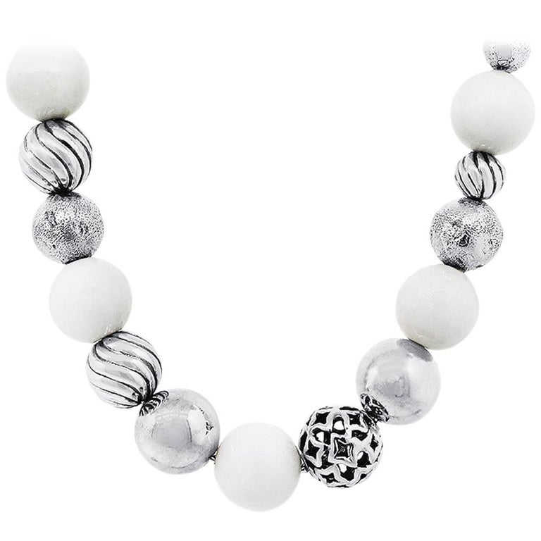 David Yurman Elements White and Silver Bead Necklace