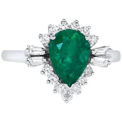Pear Shaped Emerald and Diamond Baguette Ring