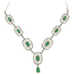 Colombian Emeralds Gold Diamonds Drop Necklace