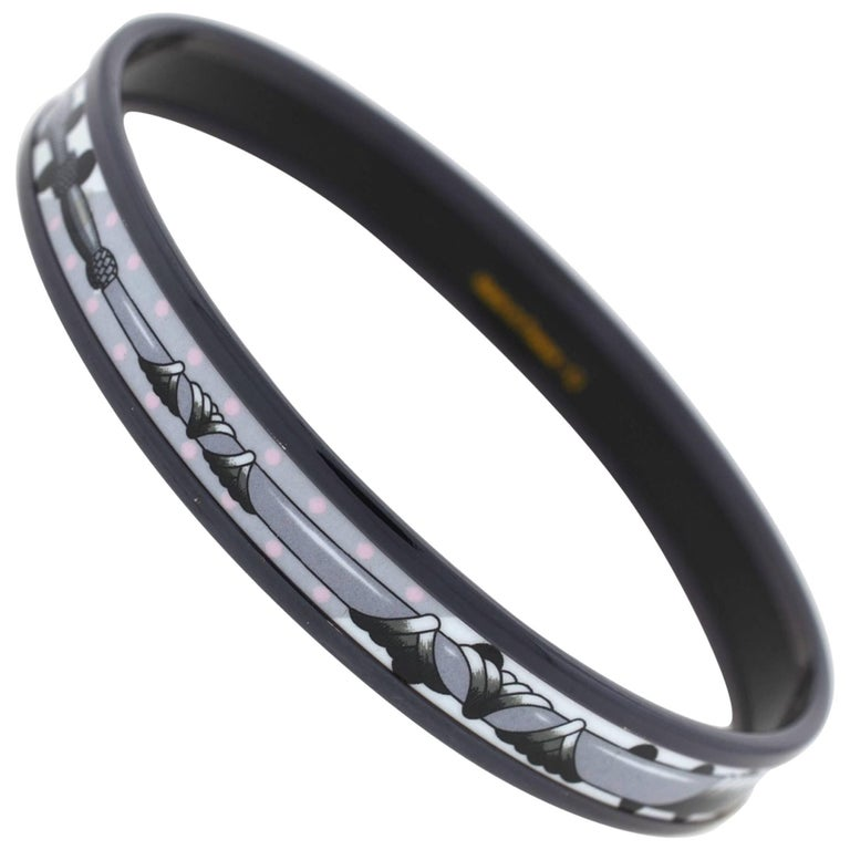 Hermes Thin Black and White Bangle Bracelet with Dustbag