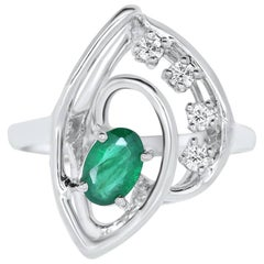 Emerald and Diamond Abstract Ring