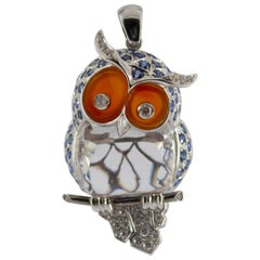 4.10 Carat Sapphire Diamond White Gold Owl Pendant Necklace
