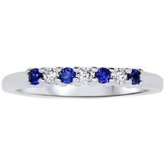 0.18 Carat Blue Sapphire and Diamond Band