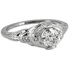 .60 Carat Diamond Antique Engagement Ring 18 Karat White Gold