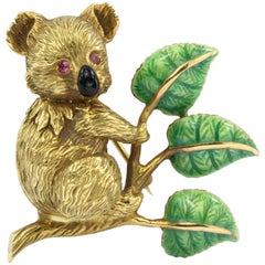Retro 18 Karat Yellow Gold Green and Black Enamel Koala with Ruby Eyes Brooch