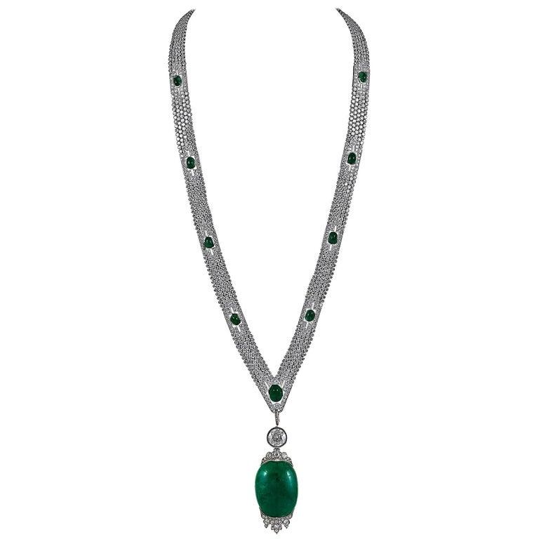 Art Deco Platinum Diamond and Cabochon Emerald Necklace