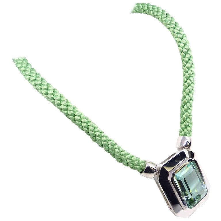 Fine Green Beryl 18k White Gold Pendant Necklace