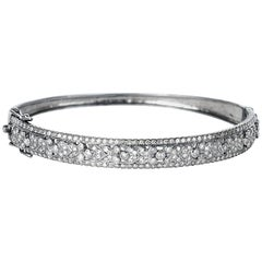 Glistening Diamond Vintage Floral Hinged Silver Bangle Bracelet