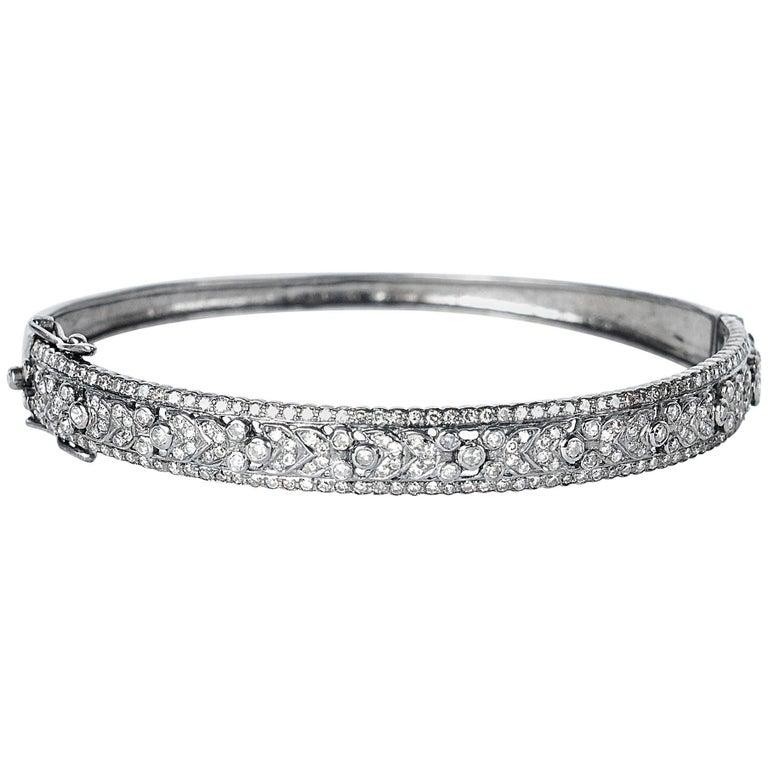 Liza Beth Glistening Diamond Vintage Floral Hinged Silver Bangle Bracelet