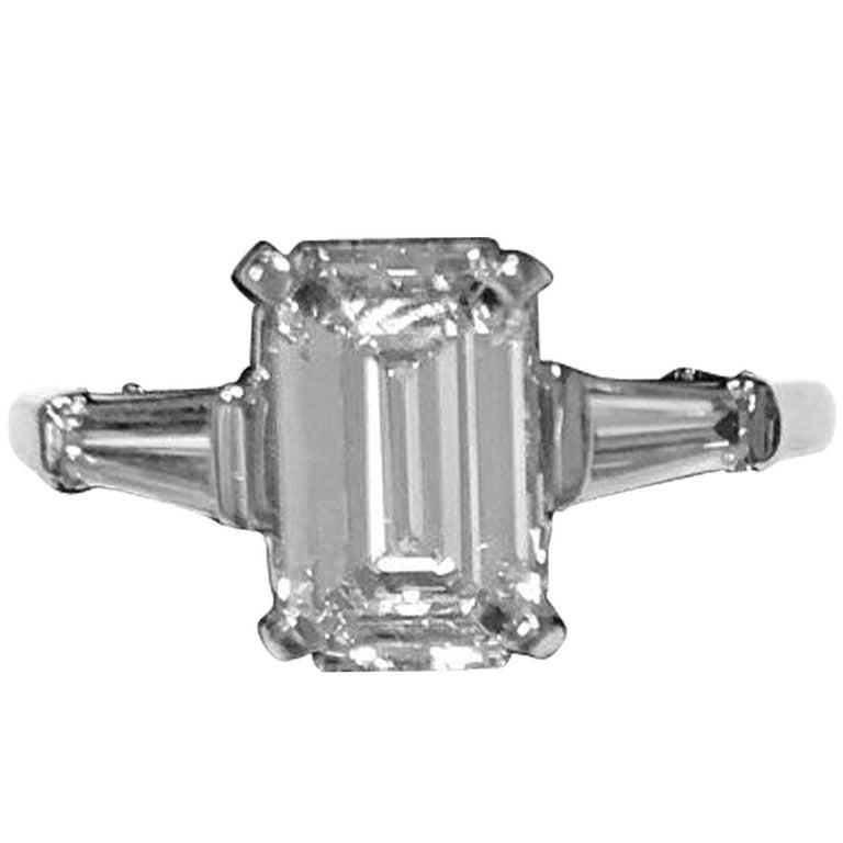 GIA Certified 1.50 Emerald Cut Diamond E/VS1 Platinum Baguette Ring
