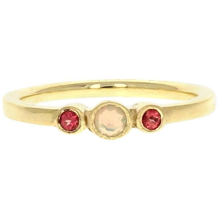 Petite Alice Ring 18 Karat Rose Gold Opal and Pink Spinel For Sale