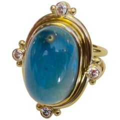 Michael Kneebone Cabochon Aquamarine Diamond Ring