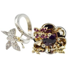Amethyst, Ruby and Diamond Flower and Butterfly Two-Tone Cocktail Ring