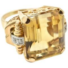 1940s Retro 22.00 Carat Citrine and Diamond Ring 14 Karat Rose Gold