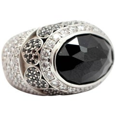 Faceted Black Sapphire and Diamond Ring 18 Karat White Gold