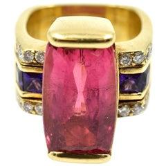 12.00 Carat Pink Tourmaline, Amethyst and Diamond Ring 18 Karat Yellow Gold