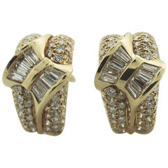 Diamond Clip Earrings with Bow Motif