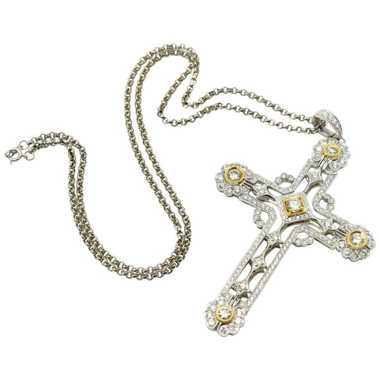 3.52 Carat White and Yellow Diamond Cross Pendant on Necklace 18 Karat Gold