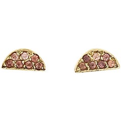Zeke 18 Karat Yellow Gold Natural Pave Sapphire Earrings
