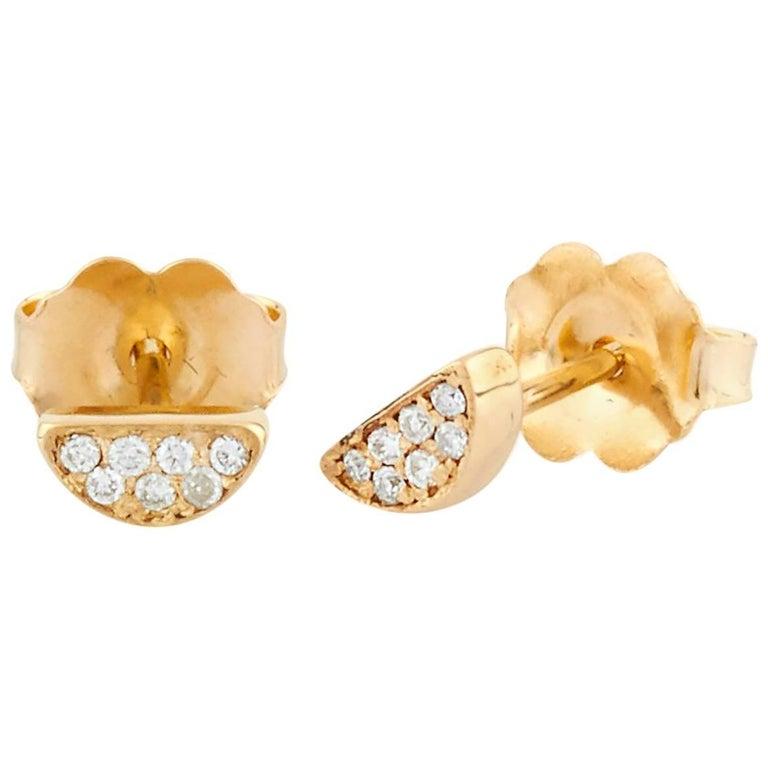 Zeke 18 Karat Yellow Gold Natural Pave Diamond Earrings